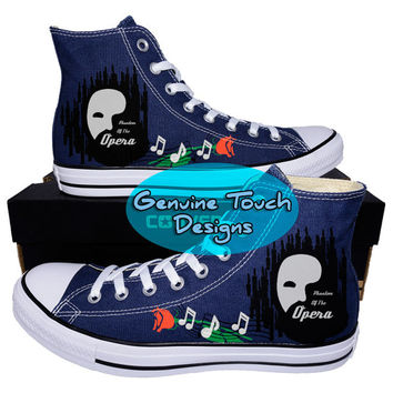 Hand Painted, Phantom of the opera, Fanart shoes, Custom converse, Birthday Gifts, Christmas Gifts, Art work shoes, Canvas shoes