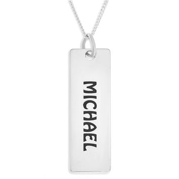 VERTICAL BLOCK NAME PENDENT MALE - STERLING SILVER