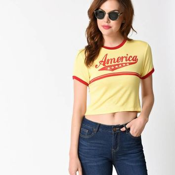 1970s Style Yellow Short Sleeve America Crop Ringer Tee