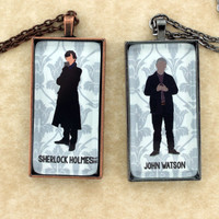 "SHERLOCK  ""Sherlock"" & ""Watson"" Minimalist Friendship Pendants Necklace, Sherlock Holmes,Fan Jewelry, Great Gift"