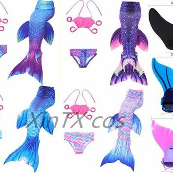 DCCKH6B 2017 Kids Little Mermaid Tails Children Swimmable Swimsuit With Bikini Fancy Dress Girls Mermaid Tail Suit / Monofin costume