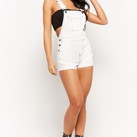 Contrast-Stitched Denim Overall Shorts