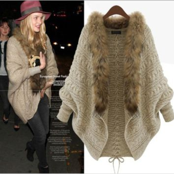 Fur Long-Seleeve Knitted Coat