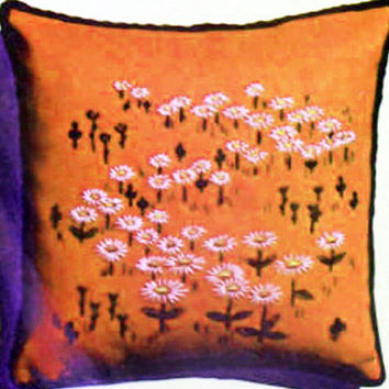 "Vintage Crewel-Embroidery Pillow Kit, ""DAISIES"" by Creative Stitchery,Crewel Kit, 13"" x 13"" pillow, Retro Seventies decor, 273C"