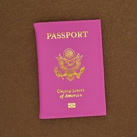 Hot Sale Soft Pu Leather USA Passport Cover Pink Cute Unisex American Passport Covers Women Brand Travel Us Passport  Case
