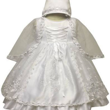 Baby Girl Toddler Christening Baptism Dress Gowns outfit set with bonnet /XS/S/M/L/XL/0-3M/3-6M/6-12M/12-18M/18-24M/XSMALL/SMALL/MEDIUM/LARGE/XL/2t/s-m-l-xl#5445