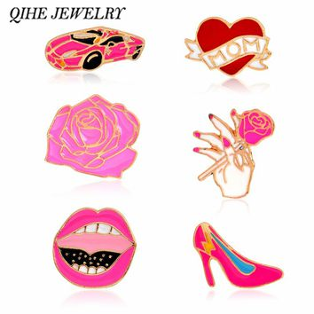 QIHE JEWELRY Rose Sports Car High Heels Sexy Lips Heart Love Mom Pin Lapel Pin Floral Jewellery Sister Wife Gift
