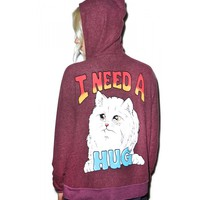 I NEED A HUG LOVE STORY ZIP UP