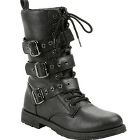 Black Triple Buckle Combat Boot