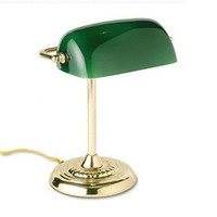 Executive Desk Lamp, 60w, Green and Brass ()