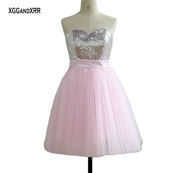 Hot Sale Candy Pink Short Prom Dress 2018 Sweetheart Off Shoulder Sexy Backless Big Bow Homecoming Dress Plus Size Custom Made