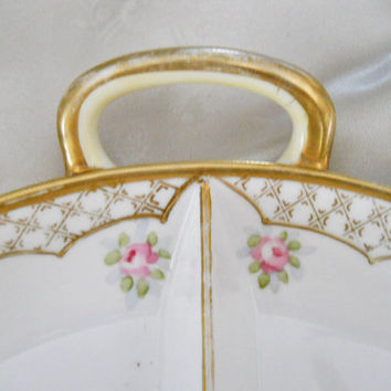 ON SALE Antique Porcelain - Hand Painted Nippon Dish - 1910s Nippon China Plate