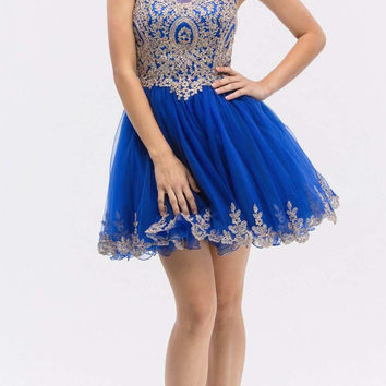 Royal Blue Mesh Short Homecoming Dress with Appliqued Bodice and Hem