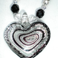 M51 Black and White Swarovski Pearl and Crystal Necklace