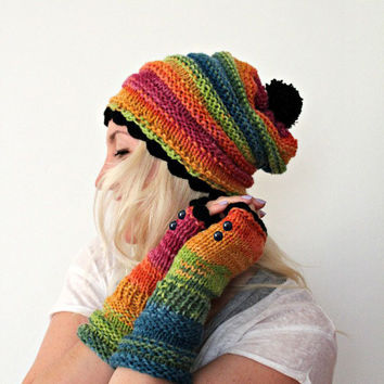 Rainbow Hat and Gloves Set Colorful Pom Pom Beanie Fingerless Gloves Hand Knit Winter Beanie Handmade Hat and Gloves Gift Set Gift for her