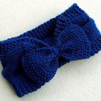 FREE SHIPPING,Hand Knitted Bow Headband Turban in Blue Electric,Handmade Headband,Winter Ear Warmer,Knit Women Accessory,Warm Head Wrap