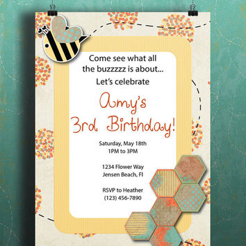 Instant Download-Bumble Bee Spring Flowers Honey Comb DIY Printable Birthday Party Baby Shower Wedding Bridal Invitation Template