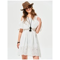 Cold Shoulder White Tunic Dress