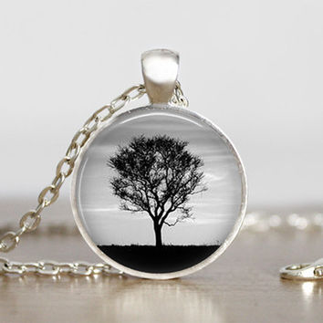 black and white tree pendant, black and white tree landscape jewelry, unique tree art, landscape necklaces, nature pendants, natural jewelry