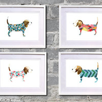 BEAGLE prints set of FOUR, Beagle love posters A4 Watercolour print 210x297mm