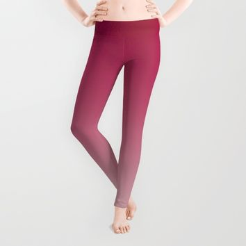 Deep Rose Ombre (Reverse) Leggings by Lindsay