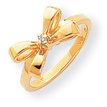 14k Yellow Gold Polished Diamond Bow Ring