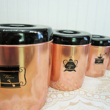 Vintage 1950's West Bend Aluminum Pink Coppertone Nesting Canister Set made in USA, Country Kitchen, Vintage Kitchen, Retro Funk