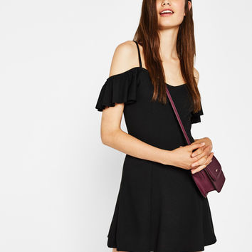 Short A-line dress with cap sleeves - Dresses - Bershka United Kingdom