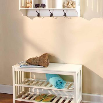 White Entryway Hall Bench & Shelf Storage Unit Set Foyer Mudroom Organize Rack