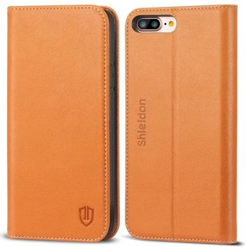 iPhone 8 Plus Case, iPhone 7 Plus Case, SHIELDON Genuine Leather iPhone 8 Plus Wallet Case Book Design with Flip Cover and Stand [Credit Card Slot] Magnetic Closure for iPhone 8 Plus / 7 Plus - Brown