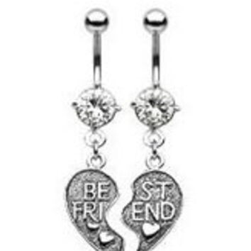 316L Surgical Steel Cubic Zirconia Best Friends Belly Rings