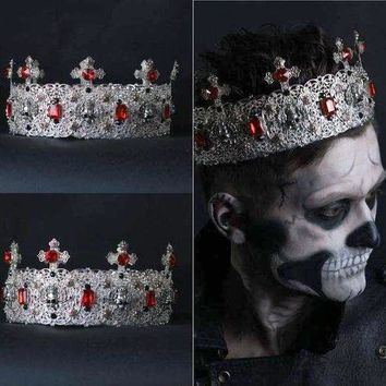 High Silver Mens Crown Zombie Boy Gothic Black Cosplay Crown