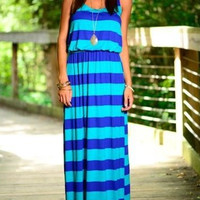 Slim Striped Maxi Dress