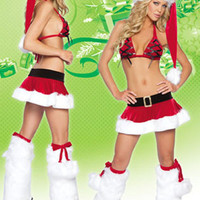 Strappy Halter Top and Santa Mini Skirt Christmas Costume