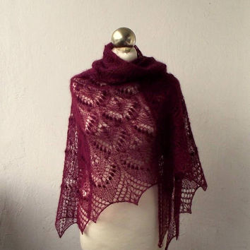 Wine Red hand knitted kid silk lace shawl with nupps