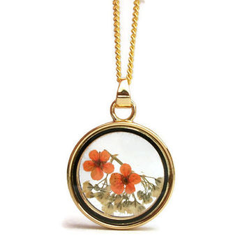 Orange and White Dried Flowers Gold Tone Floating Locket Pendant Necklace- 18 or 20 in Petite Curb Chain or 23 inch Ball Chain
