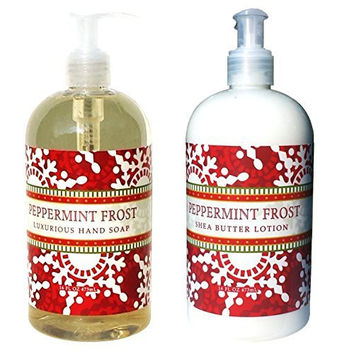 Greenwich Bay Peppermint Frost Shea Butter Hand & Body Lotion and Peppermint Frost Hand Soap Duo Set 16 oz each