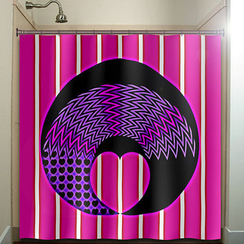 girly girl pink purple love heart chevron shower curtain bathroom decor fabric kids bath white black custom duvet cover rug mat window
