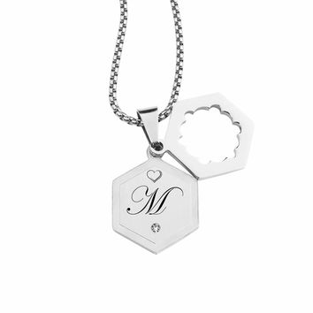 Double Hexagram Initial Necklace With Cubic Zirconia By Pink Box - M