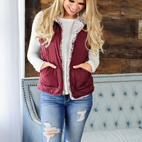 * Skiing In The Moutains Reversible Puffer Sherpa Vest With Zipper Detail: Burgundy