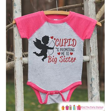 Big Sister Valentine's Outfit - Pregnancy Announcement Onepiece or Tshirt - Cupid Shirt for Girls - Big Sister Pregnancy Reveal - Pink