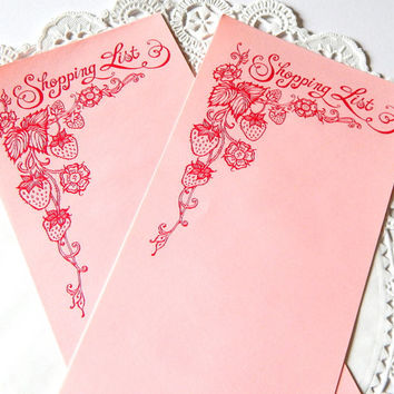 Vintage Pink Shopping List Stationery. Paper Ephemera. Grocery List. List Pad. Strawberry Paper. Pink Paper. Junk Journal Paper. To Do List.