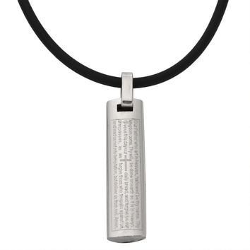 Our Father Flat Cylinder Stainless Steel Pendant Cord Necklace