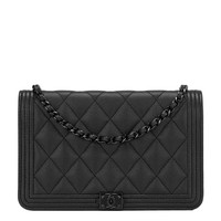 Chanel SO Black Quilted Caviar Boy Wallet On Chain (WOC)