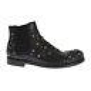 Dolce & Gabbana Black Leather Gold Studded Shoes Boots