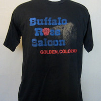 Vintage Awesome Western 80s GOLDEN COLORADO BUFFALO Graphic Buffalo Rose Saloon 50/50 Extra Large Jerzees T-Shirt