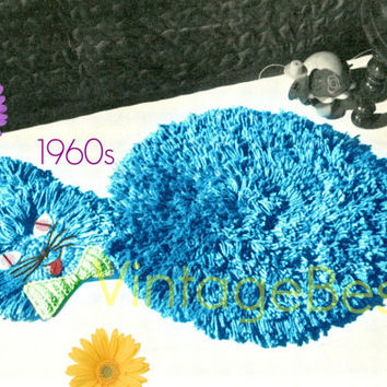 Cat Rug Crochet Patern 1960s Retro Crochet Pattern Shag Crochet Pattern Cat Crochet Pattern Vintage Beso Instant Download PDF ebook