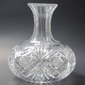 Carafe American Brilliant Period hand Cut Glass antique