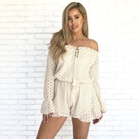 Dream In Cream Eyelet Romper