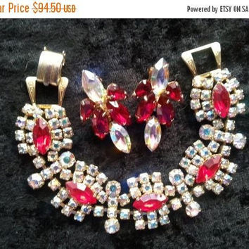 On Sale Rare Rhinestone Vintage Bracelet Earring Set Demi 1940's 1950's Retro Rockabilly Red Aurora Borealis Vintage Jewelry